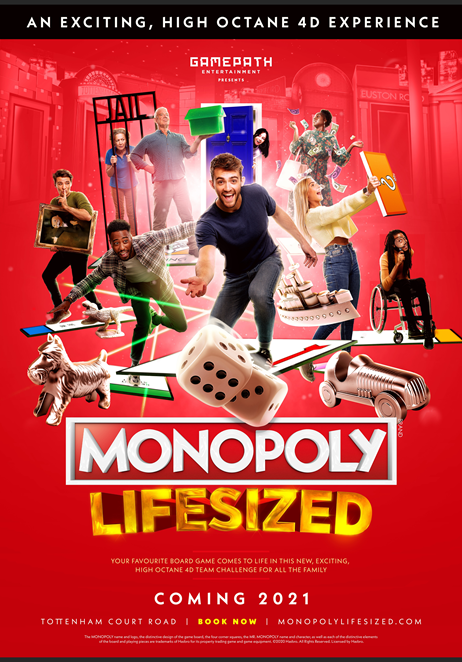 ANNOUNCEMENT: Tickets on sale now for Monopoly Lifesized - a brand new attraction for central London from 14 August 2021
